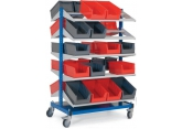 Mobile stocker 2 x 5 shelves with bins PROVOST