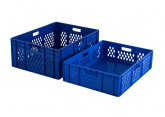 Blue stackable crate 800 x 600 mm with perforated sides PROVOST