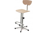 Mechanical wooden stool with footrest PROVOST