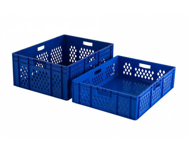 Blue stackable crate with perforated sides PROVOST