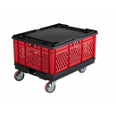 Red stackable crate 800 x 600 mm with perforated sides PROVOST